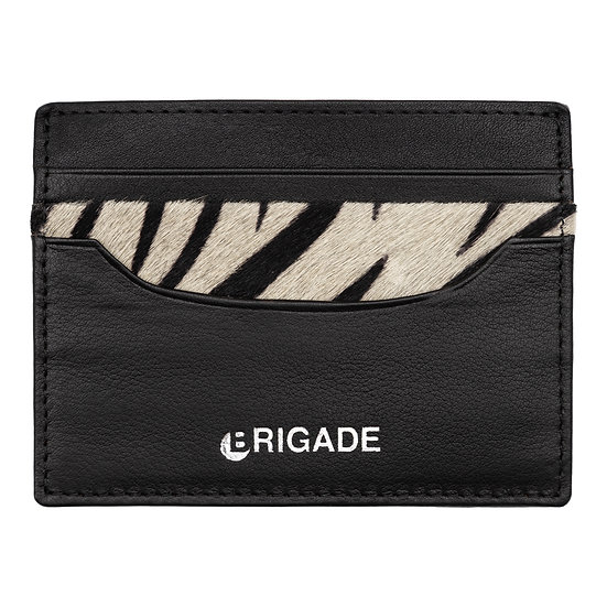 Brigade Genuine Leather Cardholder Black Front View