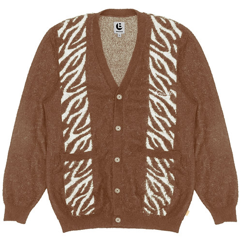 Brushed Mohair Zebra Knit Cardigan