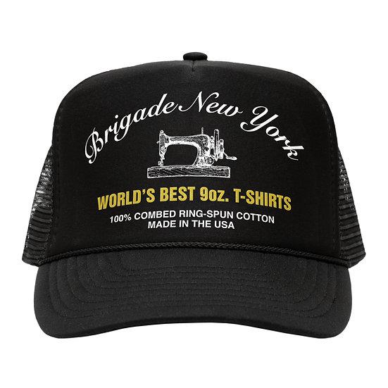 Brigade Worlds Best T-Shirts Trucker Hat Black Front View