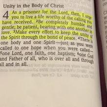 Reading scripture Ephesians 4:1-3 With Pastor Sarah