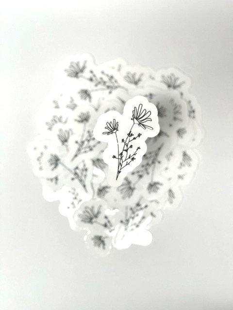 Distressed line art flower 2