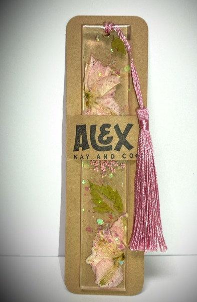 Handmade floral resin bookmark