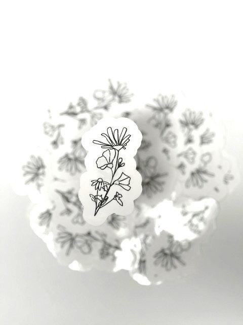 Distressed line art flower 1