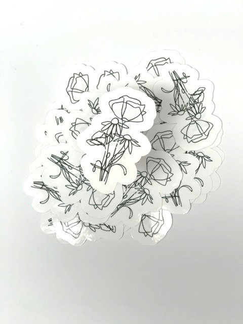 Distressed line art flower 4