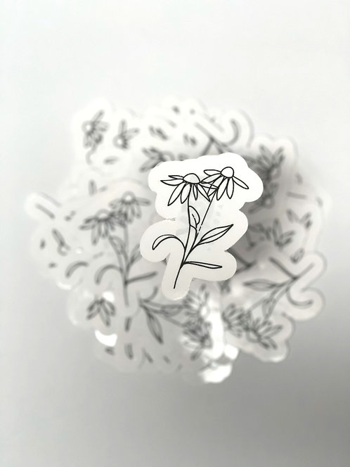 Distressed line art flower 5