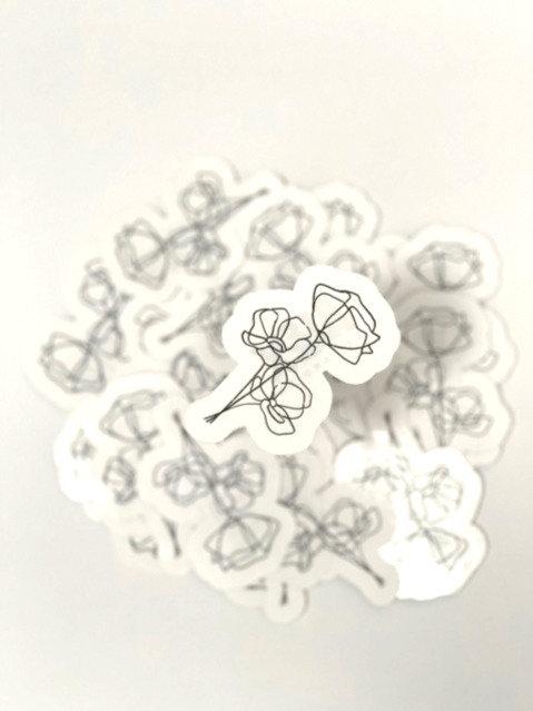 Distressed line art flower3