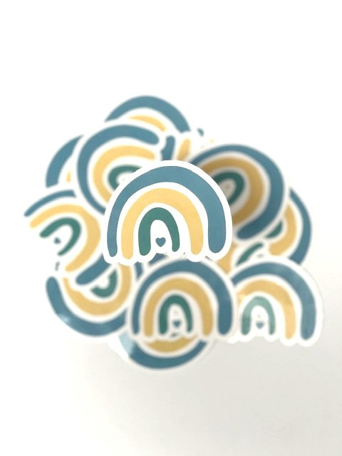 Rainbow (teal and yellow) sticker