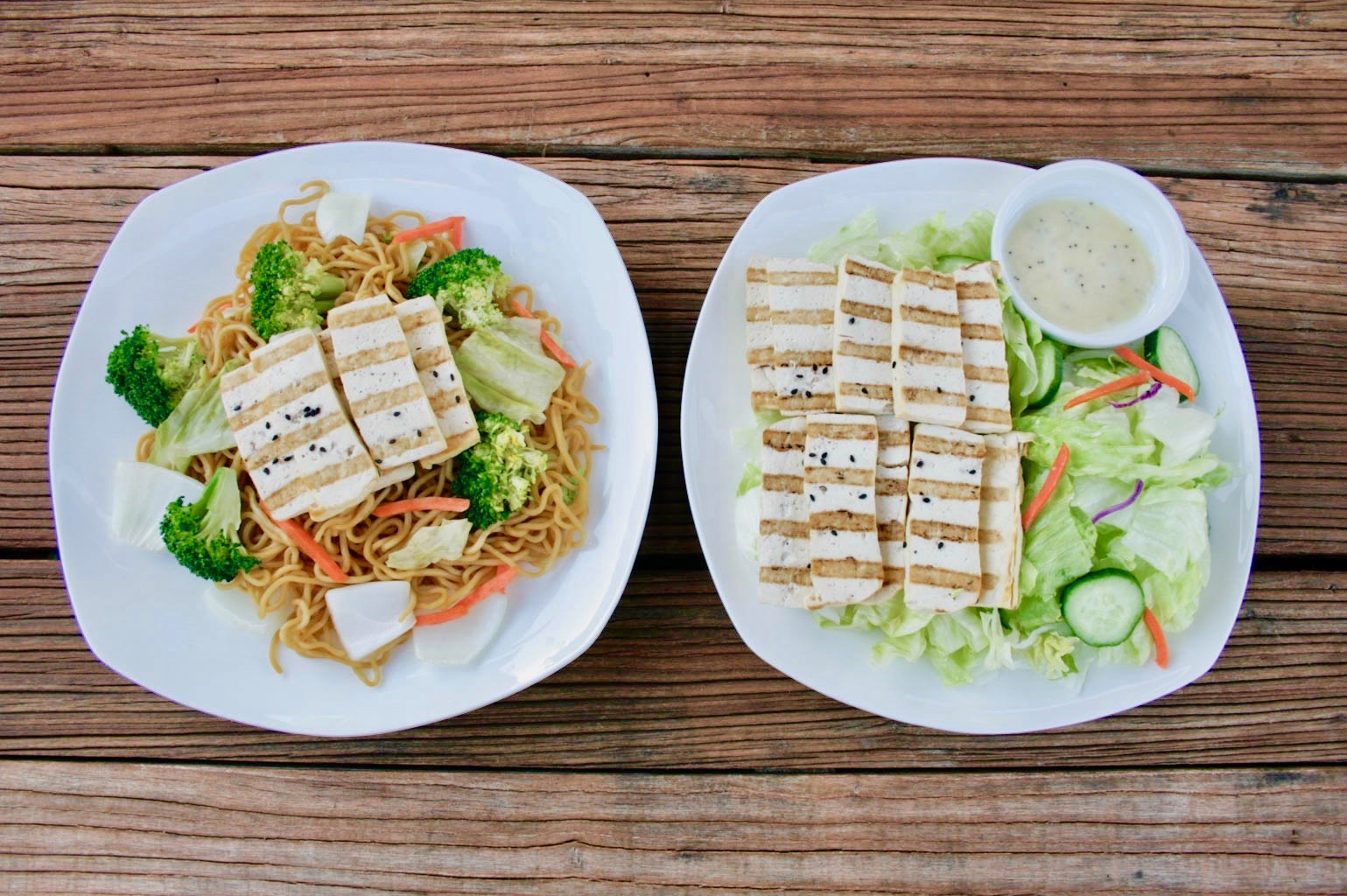 Tofu Yakisoba & Tofu Salad