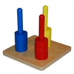 Disques de couleur sur 3 tiges
