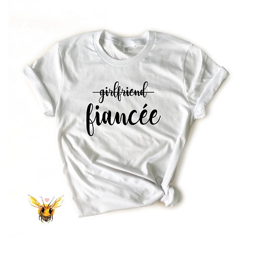 T-Shirt - Girlfriend Strikethrough Fiancée - White