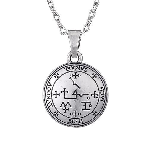 Amulet aartsengel Samaël zilverkleur met metalen ketting