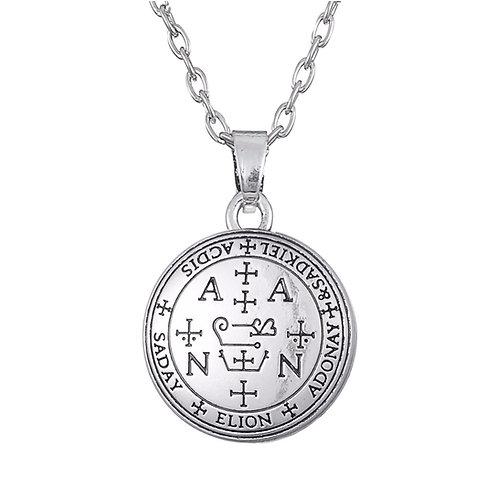 Amulet aartsengel Zadkiël zilverkleur met metalen ketting