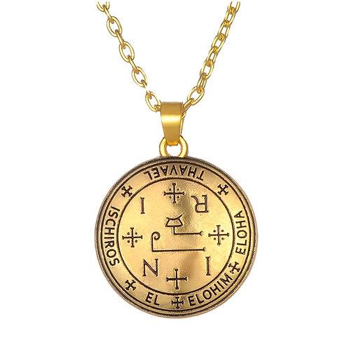 Amulet aartsengel Thavaël brons met metalen ketting