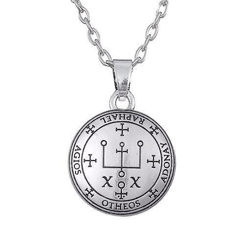 Amulet aartsengel Raphaël zilverkleur met metalen ketting