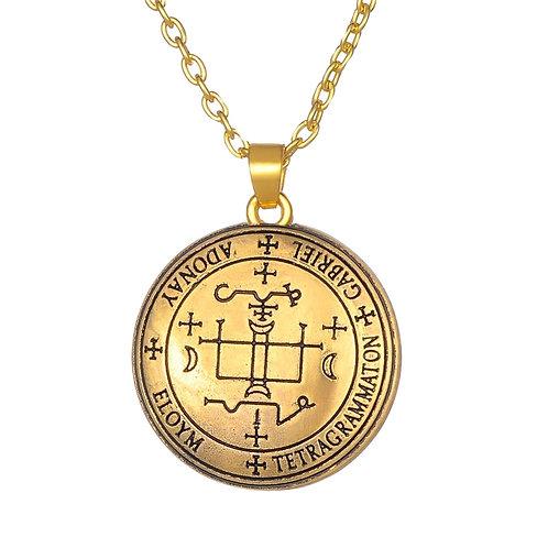 Amulet aartsengel Gabriël brons met metalen ketting
