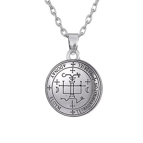 Amulet aartsengel Gabriël zilverkleur met metalen ketting