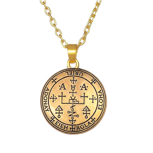 Amulet aartsengel Uriël brons met metalen ketting