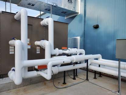 Outside Air Unit Piping Insulated with Fiberglass Insulation & PVC Jacket