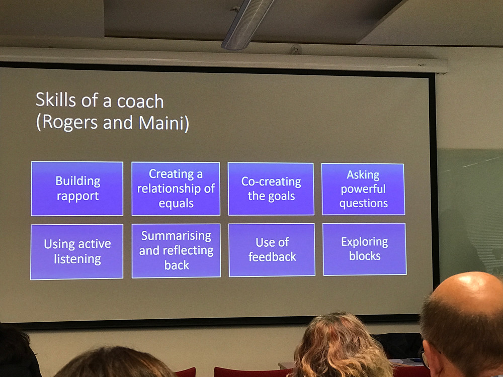 A slide that shows the skills of a coach