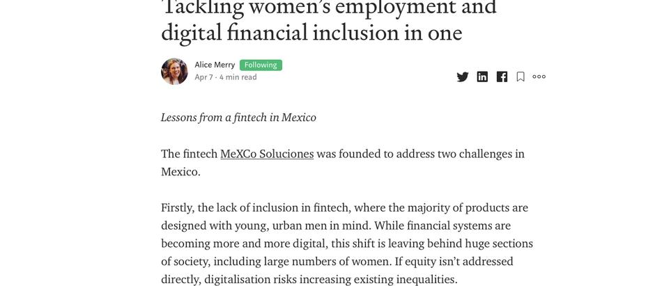 Abordar el empleo de las mujeres y la inclusión financiera digital en uno (en Inglés)