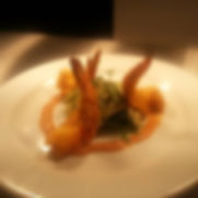 mijto battered prawns, fennel slaw, tandoori & coconut sauce
