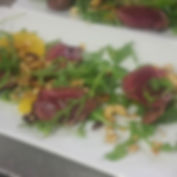 Seared pidgeon breast, clemtine & cashew granola