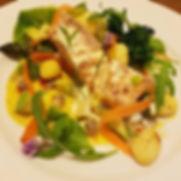 Poached sea trout, gnocchi, avocado & mango dressing