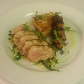 Pork fillet, Savoy cabbage & dauphinoise potatoes