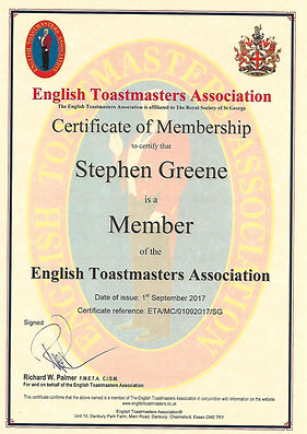 The Essex Toastmaster Certificate of Memberhip to theAsociation