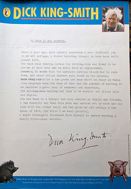 Springer Building letter from Dick King-Smith