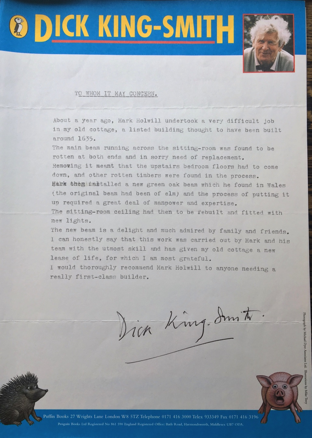 Letter from Dick King-Smith