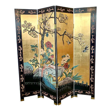 Chinese Gold Leaf and Black Lacquer Room Divider Folding Screen