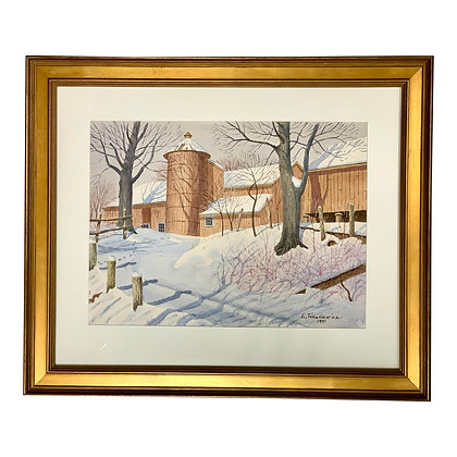 Watercolor Painting of New England Barn in Winter