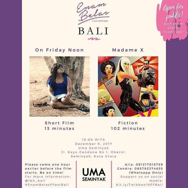 Malam ini di Uma Seminyak: Enam Belas Film Festival Bali