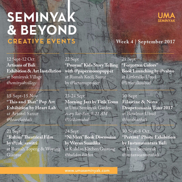 CREATIVE EVENTS in Seminyak & Beyond