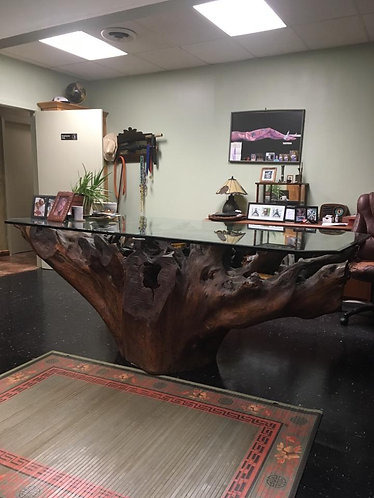Gorgeous Cypress stump desk