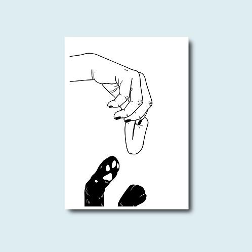 Carte postale - Donner sa langue au chat