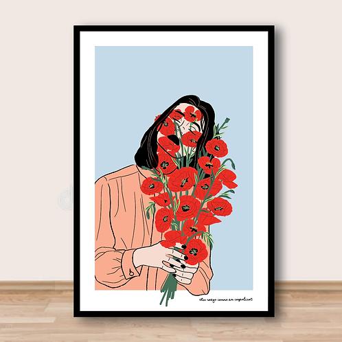 Affiche - Être rouge comme un coquelicot