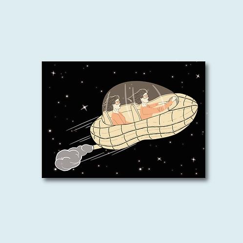 Carte postale -Partir en cacahuète