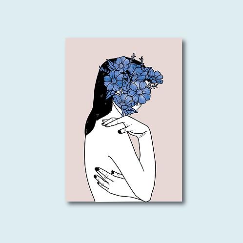 Carte postale -Être fleur bleue