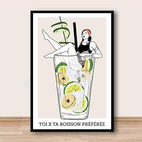 Illustration personnalisée  Toi + ta boisson favorite / personalized drawing you