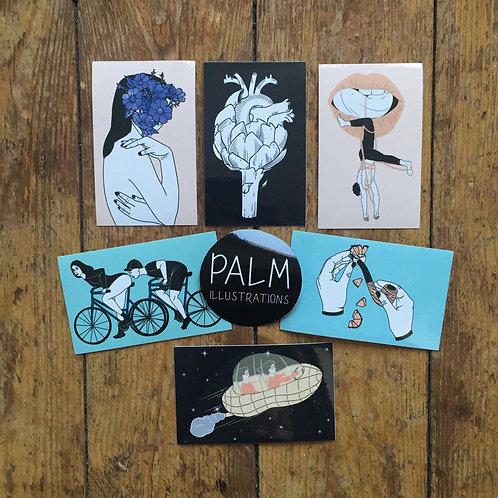 Set de 6 stickers - série  les expressions françaises