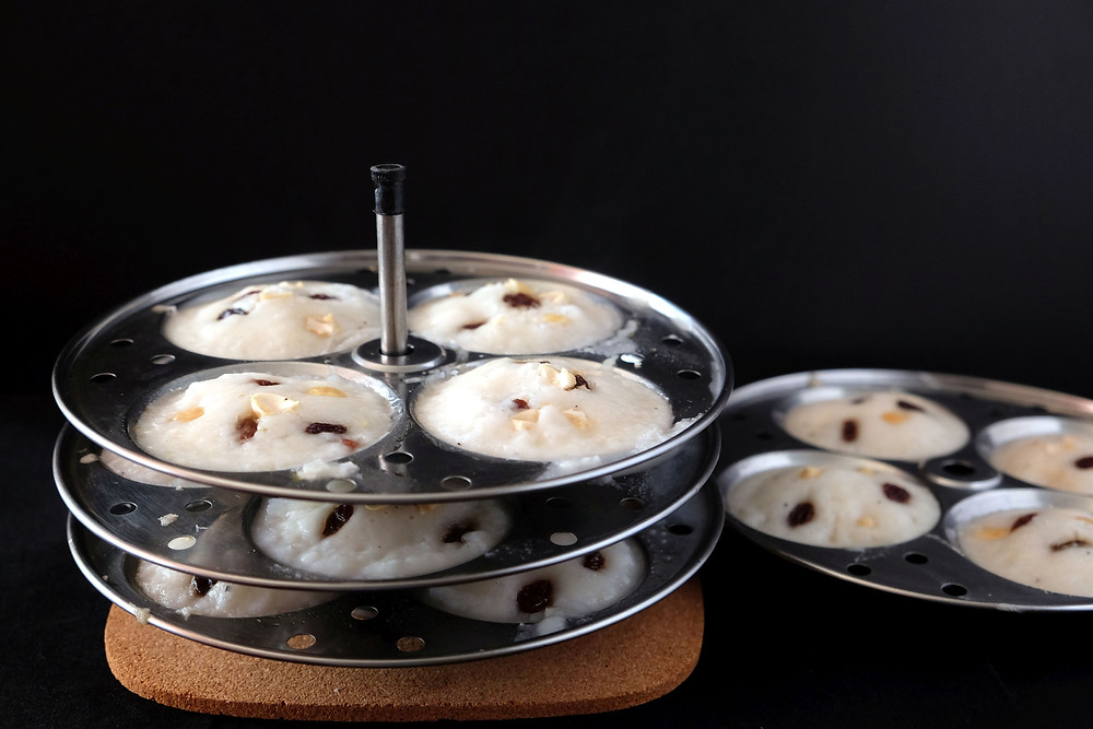 Mini Steamed Rice Cakes in their moulds