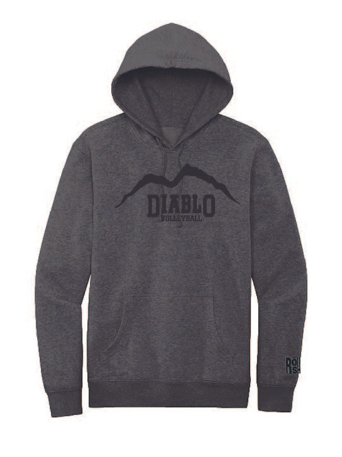 Charcoal Heather Hoodie with Black Mountain
