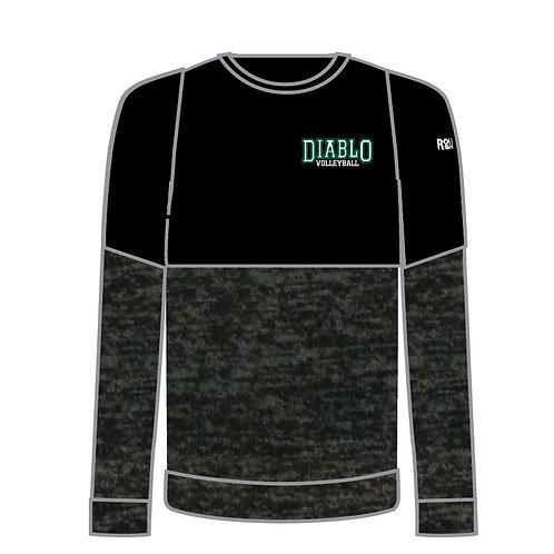 Split Level Crew Neck Sweatshirt w/ Embroidery of Diablo Left Chest