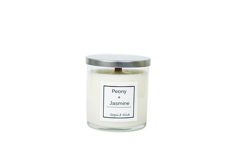 Peony + Jasmine Soy and Olive Oil Candle - Classic Collection