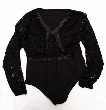 Black lace long sleeve one piece