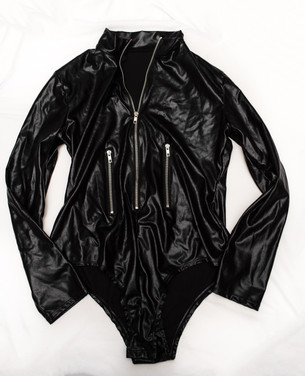 Black faux leather long sleeve one piece
