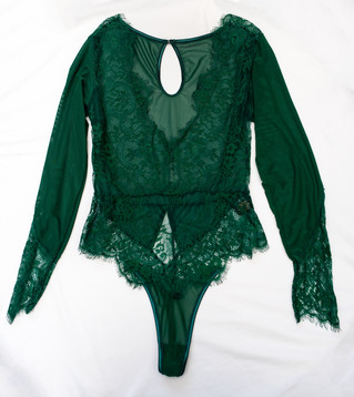 green sheer lace long sleeve one piece