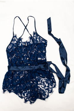 lace pearl buttons blue one piece